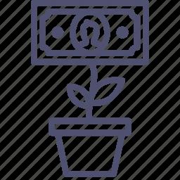 business, cash, finance, grow, growth, money, plant, pot, rise icon