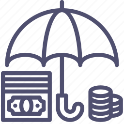 bank, cash, deposit, finance, money, protected, safe, secure, umbrella icon