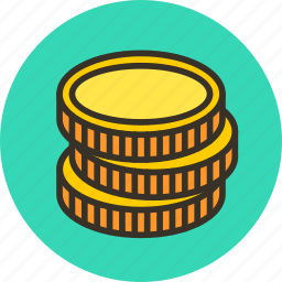 cash, coin, coins, currency, finance, gold, money icon