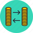 cash, coin, currency, exchange, finance, gold, money icon