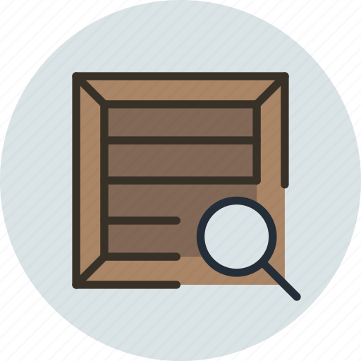 box, crate, package, parcel, product, search, shipping icon