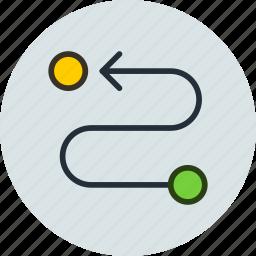 destination, point, return, road, route, traffic icon