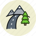 mountains, road, route, travel icon