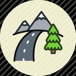 mountains, road, route, travel icon