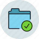 aprove, check, files, folder, storage icon