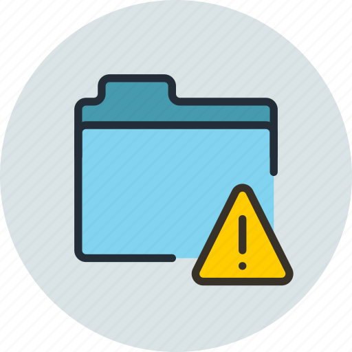 alert, files, folder, storage, warning icon