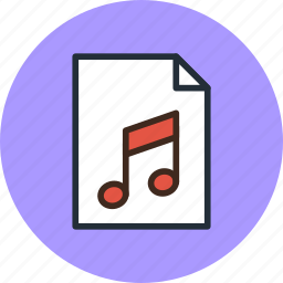 audio, document, file, music, page, paper, sheet, sound icon