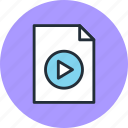 document, file, page, paper, play, sheet, video icon