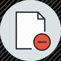 add, delete, document, file, page, paper, remove, sheet icon