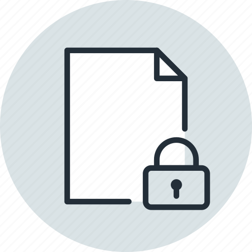 document, file, lock, page, paper, private, sheet icon