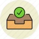 aprove, box, check, email, inbox, mail, mailbox, received, sent icon