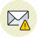 alert, email, envelope, mail, message, warning icon