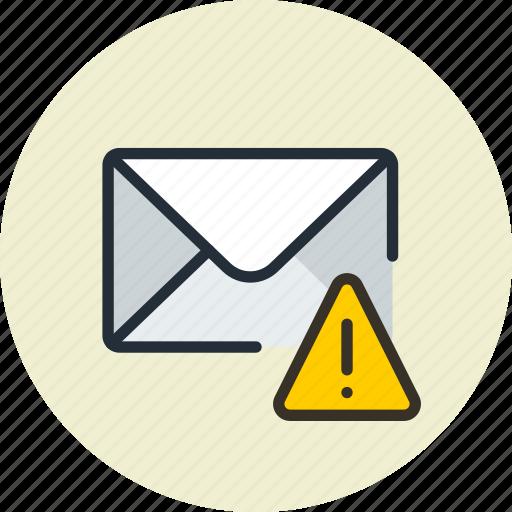 alert, email, envelope, mail, message, warning icon