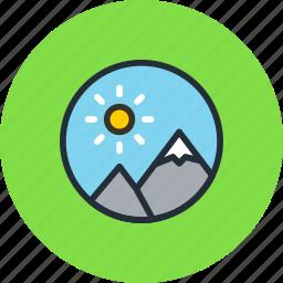 image, media, mountains, nature, photo icon
