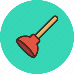 clogged pipe, plumber, plunger, tool icon