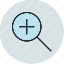 in, lense, search, tool, zoom icon