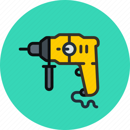 carpenter, drill, perforator, tool icon