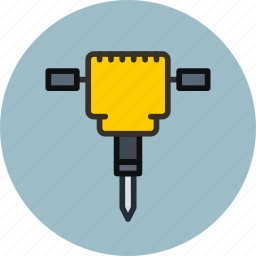 construction, jackhammer, road crew, tool icon