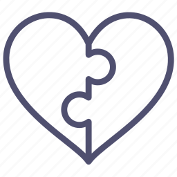 connected, connection, couple, heart, love, parts, puzzle icon