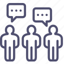chat, comments, communication, comunity, crowd, dialog, people, talking, team icon