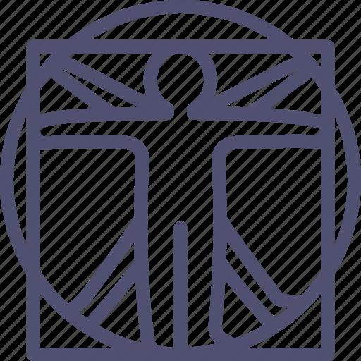 antropo, davinci, human, man, vinchi, vitruvian icon