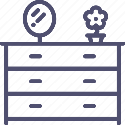 cabinet, cupboard, drawer, furniture, glass, interior, pier icon
