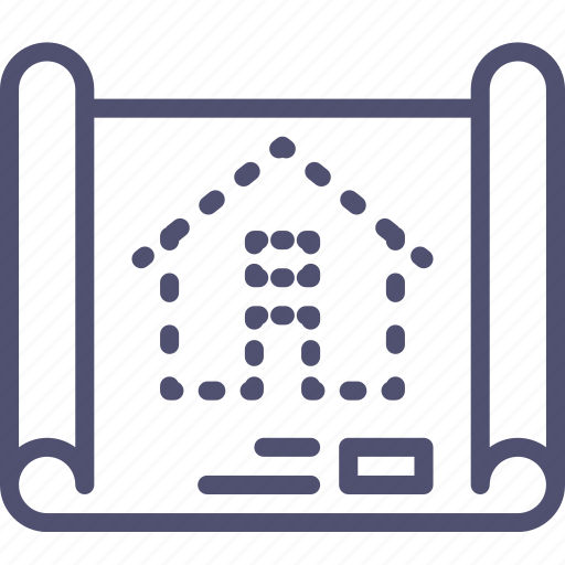 building, construction, drafting, house, map, plan, scheme icon