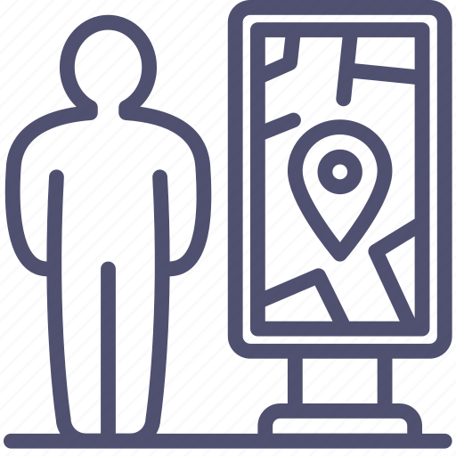 find, location, man, map, navigation, pin, plan, scheme, stand icon