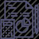 analytics, business, data, document, file, work icon