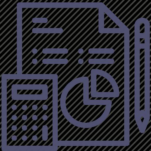 analytics, business, calculator, data, diagram, document, file, pencil, work icon