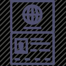 citizen, document, id, identity, international, pass, passport, personal, travel icon