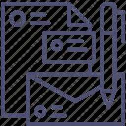 branding, business, card, document, envelope, file, identity, logo, pen icon