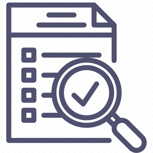 checklist, document, file, find, inspect, list, magnifying, search, todo icon