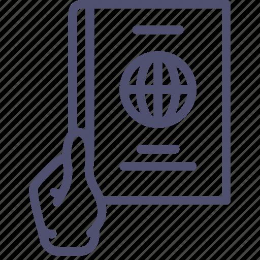 document, give, hand, id, identity, pass, passport, travel icon