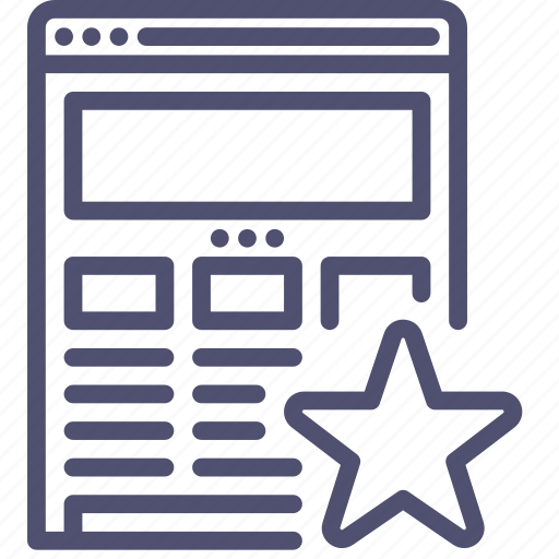 bookmark, browser, favorite, internet, responsive, star, web, website, wireframe icon