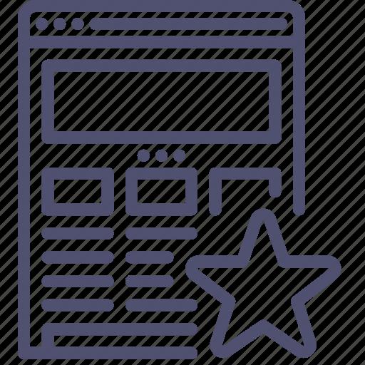 bookmark, browser, favorite, internet, responsive, star, web, website, wireframe icon