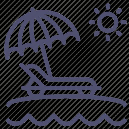 beach, lounger, nature, ocean, sea, sun, travel, umbrella, vacation icon