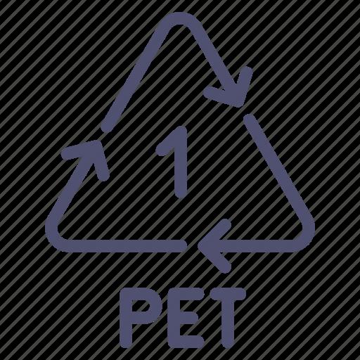 pet, polyethylene, recyclable, terephthalate icon