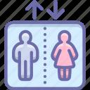 elevator, man, woman, separate icon