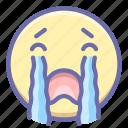 crying, emoji, loudlycrying icon