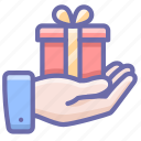 gift, hand, present icon