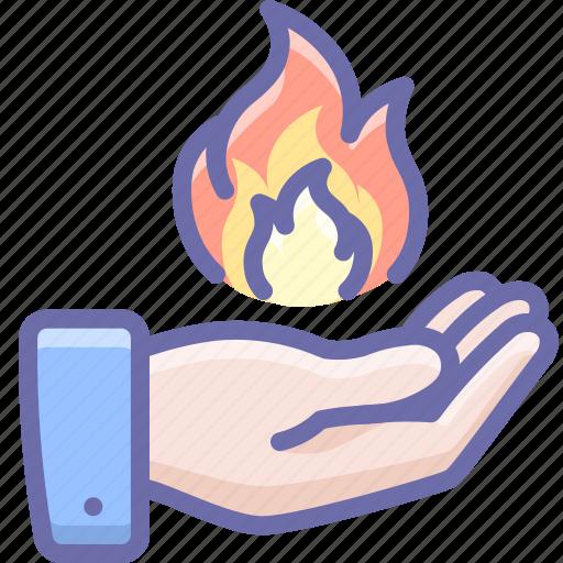 fire, hand, magic icon