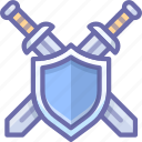 defend, shield, swords icon