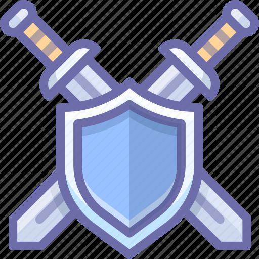 defend, shield, swords icon