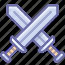 battle, attack, swords