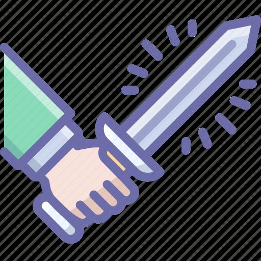 attack, hand, sword icon