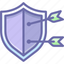 arrow, protect, shield icon