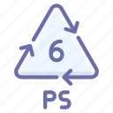 plastic, ps, polystyrene, recyclable icon