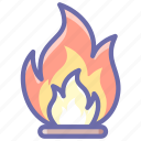 flame, flammable, open, package icon
