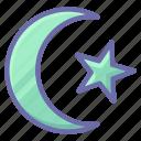 crescent, islam, religion, muslim icon